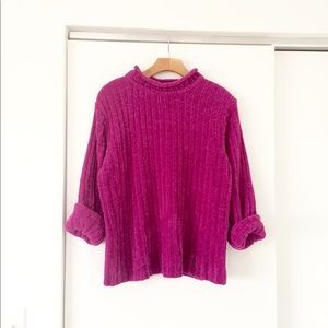 Vintage 90s Distressed Raspberry Chenille Sweater